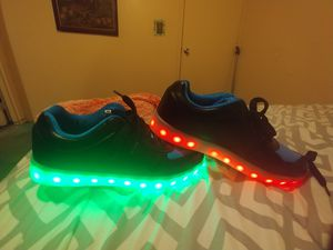 Brand new mens 10 USB charged light up shoes for Sale in Glenville, WV