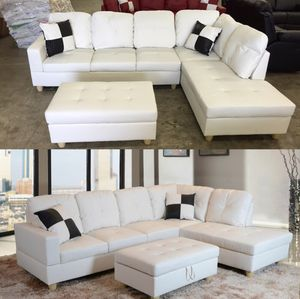 New sofa white leatherette sectional couch with pillows and ottoman on sealed box, unopened unused DELIVERY AVAILABLE ALL AREAS for Sale in Wilsonville, OR