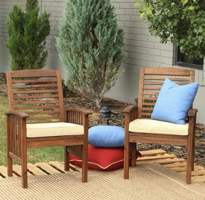 Boardwalk Dark Brown Acacia Outdoor Dining Chairs with White Cushions (Set of 2) for Sale in Plano, TX