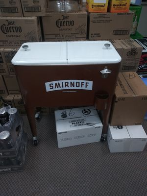 New Smirnoff Cooler with Drain plug, and Wheels, Handle and Bottle Opener for Sale in West Haven, CT