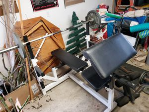 Bench Press Set with CAP Weights and Dumbbells for Sale in Brea, CA