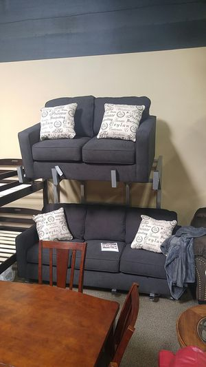 Dark grey fabric sofa and loveseat couch for Sale in Portland, OR