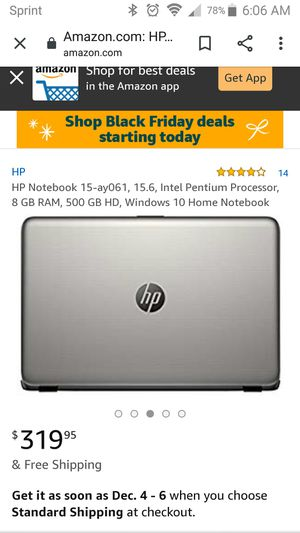 HP Notebook 15-ay061, 15.6, Intel Pentium Processor, 8 GB RAM, 500 GB HD, Windows 10 Home Notebook for Sale in Ontario, CA