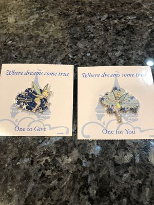"""Disney Tinker Bell Pins """"Where Dreams Come True"""" Brand New set of 2 for Sale in Artesia, CA"""