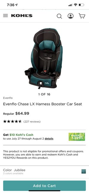 Evenflo booster car seat for Sale in Winston-Salem, NC