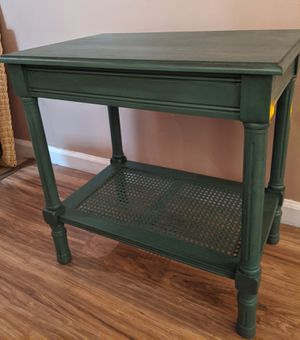 Teal distressed side table with wicker shelf for Sale in Bolton, CT