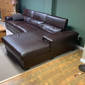 Faux Leather Brown Deep Couch for Sale in Brecksville, OH