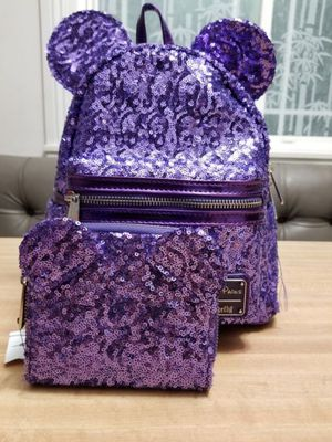 Disney loungefly purple potion mini backpack amd wallet $90 for Sale in West Covina, CA