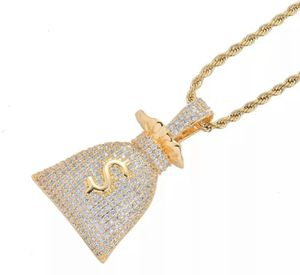 14k Gold Money Bag Iced Cash Pendant w/ Rope chain for Sale in Brooklyn, NY