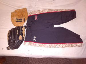 KIDS Baseball gloves and pants. good condition. for Sale in Kent, WA