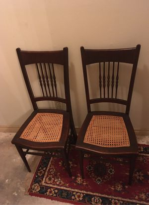 Wooden cane seat chairs for Sale in Houston, TX
