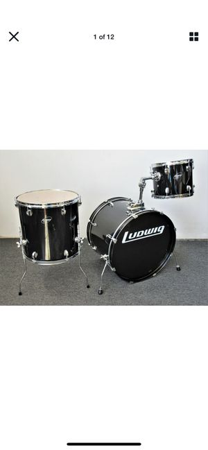 Ludwig Accent Combo 3 Piece Drum Set Black with Chrome Hardware 22/16/12 for Sale in San Francisco, CA