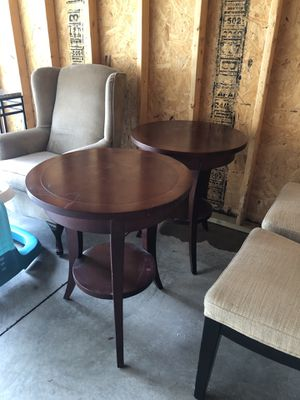 Round side tables - solid cherry red wood, $100 for pair for Sale in St. Louis, MO