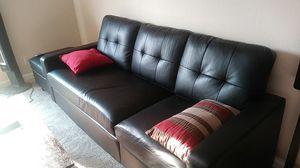 Black faux leather sofa for Sale in Sacramento, CA
