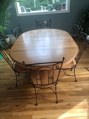 Maple and wrought iron expandable kitchen table for Sale in Bethesda, MD