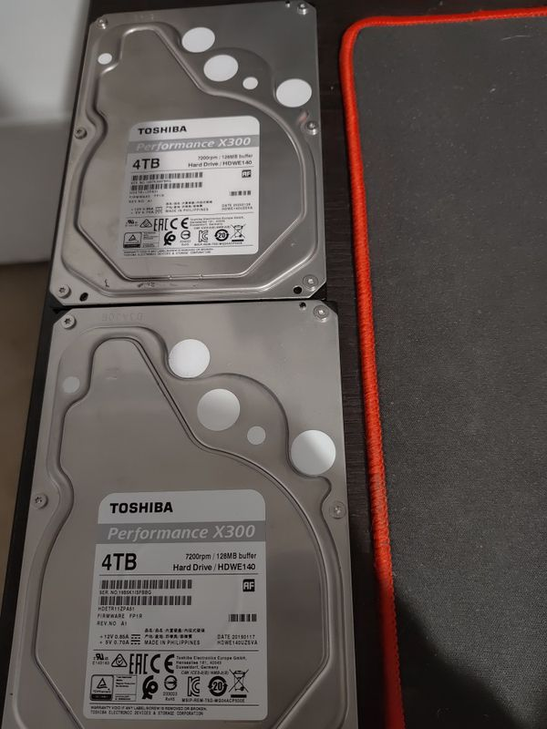 TWO 4tb toshiba x300 7200rpm hdd hard drives