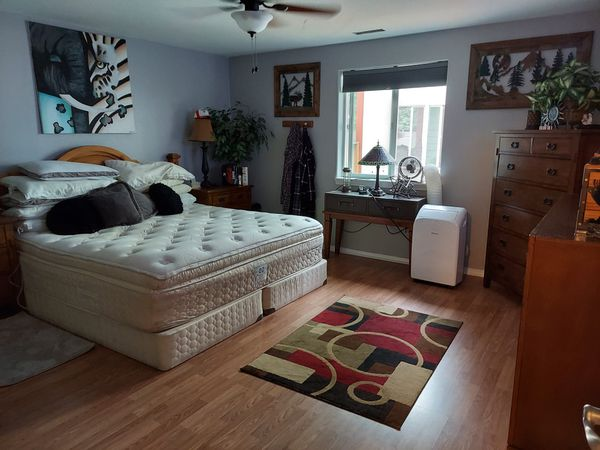 King Size Bed Pillow Top Mattress And Box Spring, 2 Night Stands And Head Board