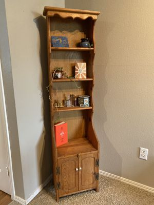 Adorable wood vintage shelving unit with storage on the bottom for Sale in Hillsboro, OR