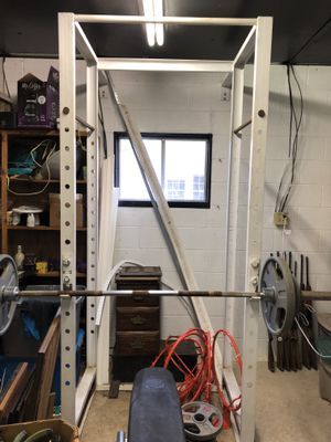 Weight rack, bench, bars and 425lbs of weights for Sale in Gainesville, GA