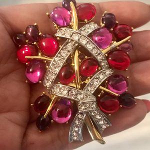 1990's Cindy Adams Ruby Red Crystals & Rhinestones Brooch for Sale in New Port Richey, FL