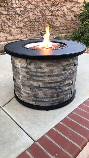 Allen + roth 36-in Faux Stone LP Gas Fire Pit, perfect for the holidays and family gatherings!!! for Sale in Fontana, CA