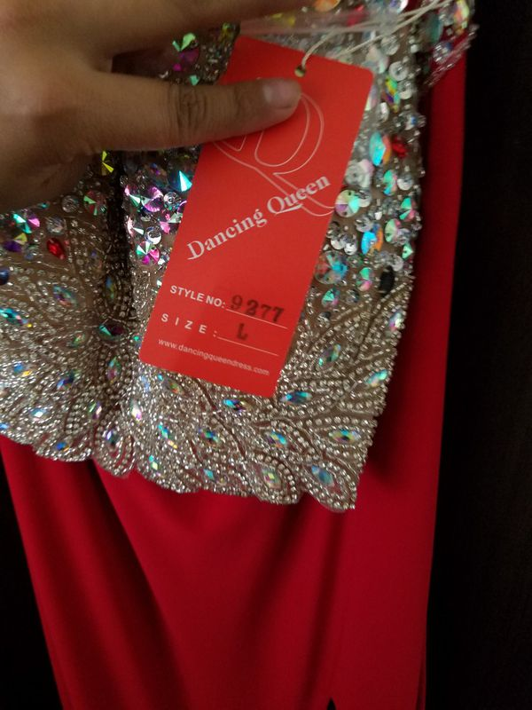 Elegant 2 pc Prom dress red and silver