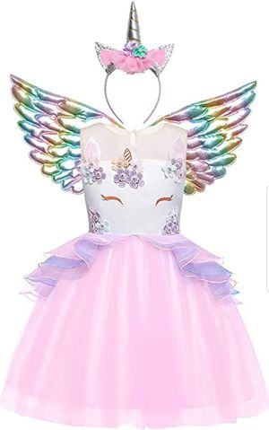 Girls Unicorn Costume Flower Pageant Princess Dresses & 2PCS Accessories 3-4 year old for Sale in La Habra, CA
