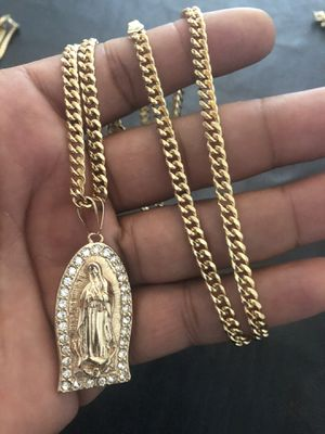 "18kmgl (gold-filled not plated or stainless ) Virgin Mary pendant with 5mm 28"" cuban link chain , includes warranty for Sale in Tampa, FL"