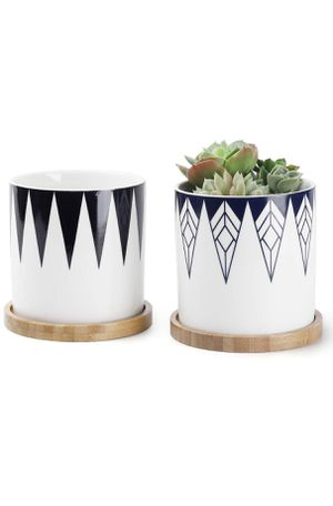Greenaholics Plant Pots - 4.3 Inch Cylinder Ceramic Planter for Cactus, Succulent Planting, with Bamboo Trays, Set of 2, Inverted Triangle for Sale in Piscataway, NJ