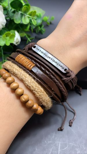 Braided Multi-layer Leather Bracelet (Set of 4), Where There's a Will, There's a way for Sale in Tustin, CA
