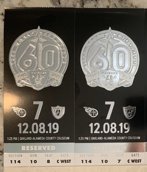 Raiders tickets X2 plus parking pass for Sale in San Ramon, CA