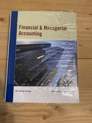 Financial & Managerial Accounting w/ Wiley plus codes-Rio Hondo College-textbook for Sale in Los Angeles, CA