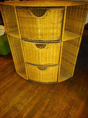 Wicker corner storage with shelves for Sale in Penbrook, PA