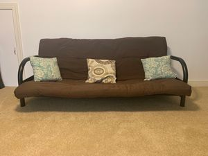 Brown futon cushion, rails, and pillows for Sale in North Chesterfield, VA