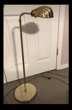 Alsy MCM Vtg Art Deco Brass Adjustable-Height Floor Lamp Clam Shell Shade Light for Sale in Wyckoff, NJ
