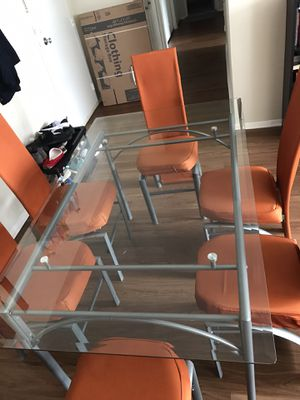 Glass Table With 6 Chairs for Sale in Arlington, VA