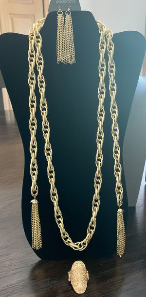 Lady Boss Golden Scarf Necklace Set for Sale in Warsaw, IN