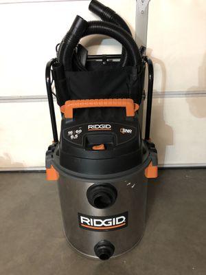 Rigid 16 Gallon 6.5 Peak HP Stainless Steel Wet/Dry Vacuum for Sale in Las Vegas, NV
