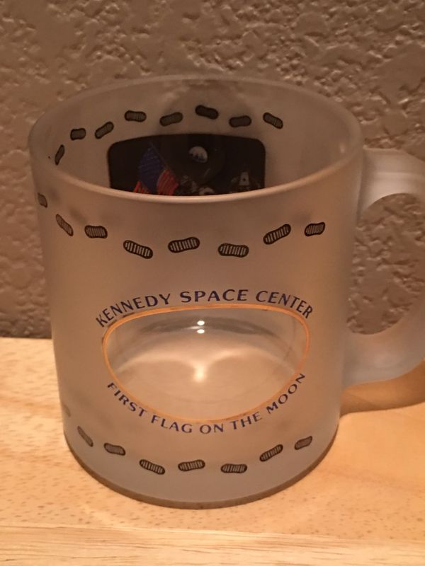 Awesome Kennedy Space Center Collectible Mug Glass Frosted See Through Window