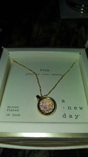 Silver plated pink charm necklace for Sale in Oakley, CA