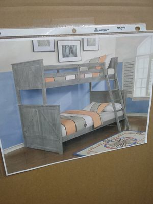 Twin over full bunk bed Grey for Sale in Greensboro, NC