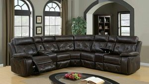 Brown leather u-shape reclining theatre sectional w/cup holders for Sale in Marietta, GA