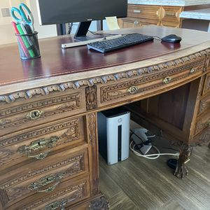 Antique Desk With Red Leather Top for Sale in Santa Ana, CA