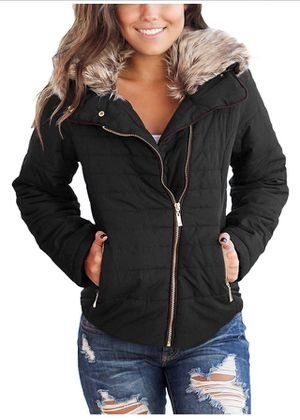 luvamia Women Casual Warm Winter Faux Fur Quilted Parka Lapel Zip Jacket Puffer Coat (Large) for Sale in Ontario, CA