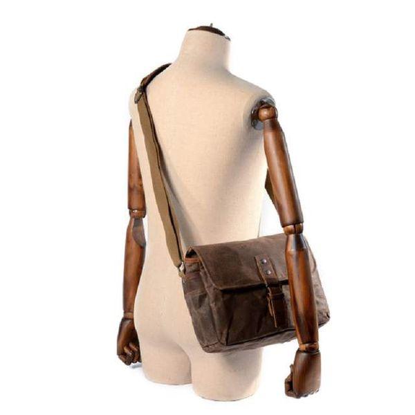 Oil wax canvas photography shoulder bag