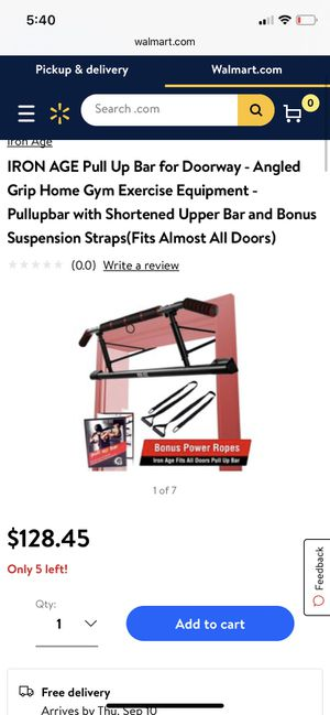 IRON AGE Pull Up Bar for Doorway - Angled Grip Home Gym Exercise Equipment - Pullupbar with Shortened Upper Bar and Bonus Suspension Straps for Sale in Santa Clarita, CA