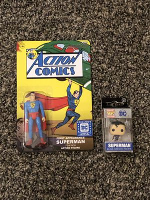 Funko Superman First Appearance Action Figure and Pocket Pop Keychain for Sale in Fresno, CA
