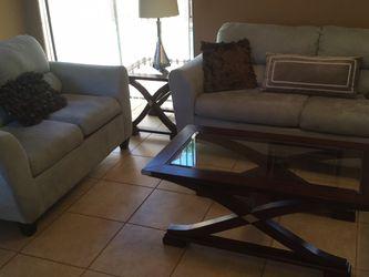 Living Room Set , Light Blue Microfiber , Love Seat , Sofa ....PRICE DROPPED !! for Sale in Miami,  FL