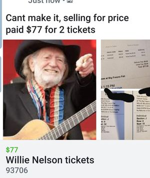Willie Nelson tickets for Sale in Fresno, CA