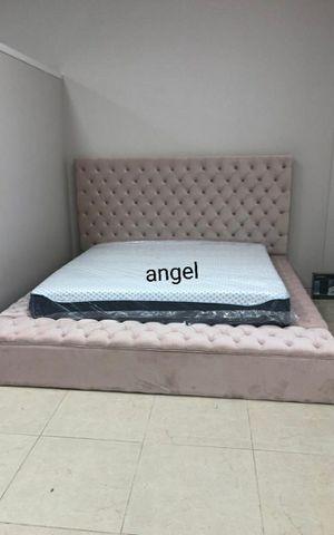🐞SAMEDAY DELIVERY 🐞Bliss Velvet Pink King Storage Platform Bed for Sale in Jessup, MD